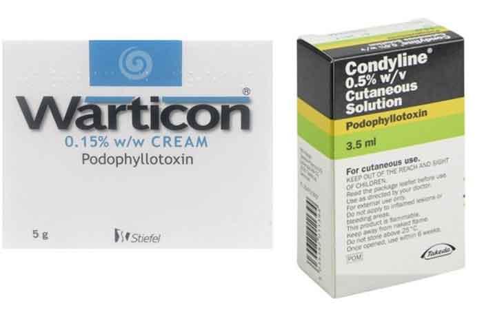 Podophyllotoxin 0.15%, 0,5%: biệt dược, chỉ định và liều dùng